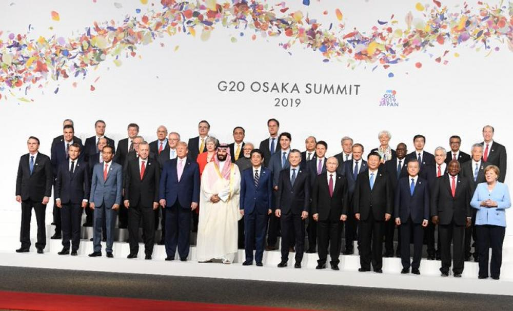 G20 leaders pose for family photo as Summit begins in Japan