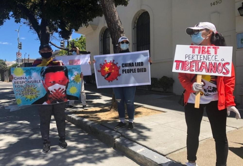 Tibetan diaspora calls out Beijing over Covid-19, after NY, protests outside Chinese consulate in San Francisco