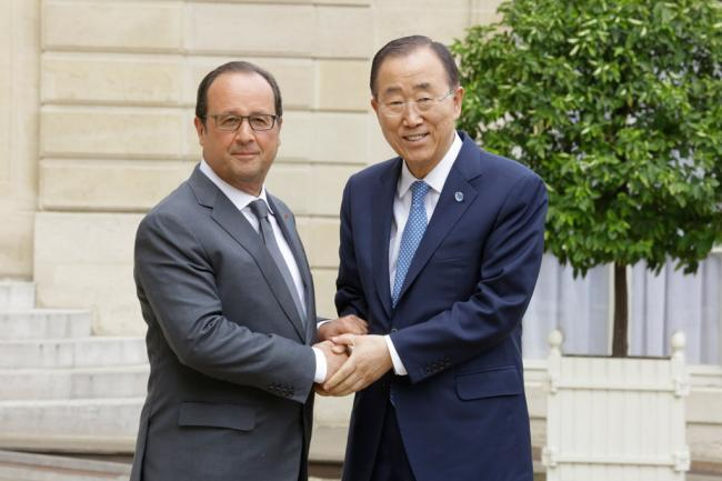 In France, Ban and President Hollande discuss global issues including upcoming Paris climate talks