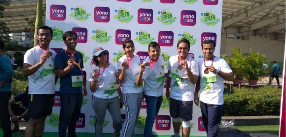 Sustainability themed Marathon runners sport GOTS-certified organic cotton T-Shirts