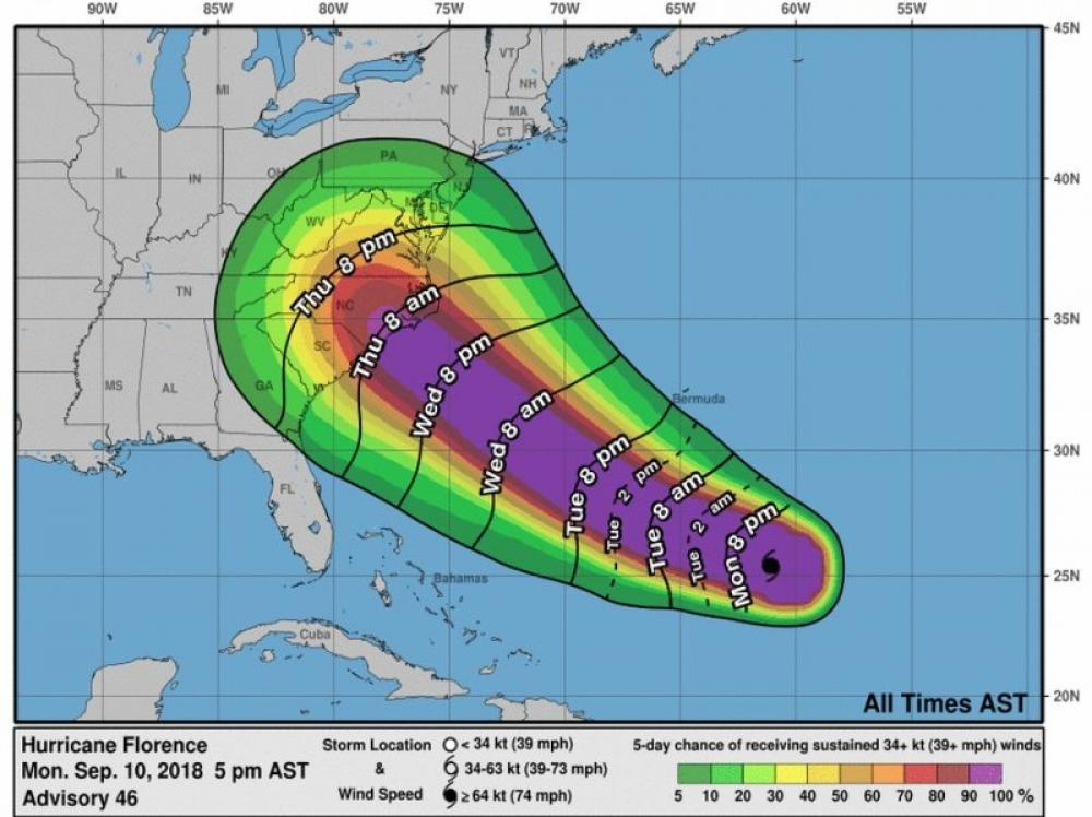 Hurricane Florence to make landfall on Thursday; US President Trump sounds alert