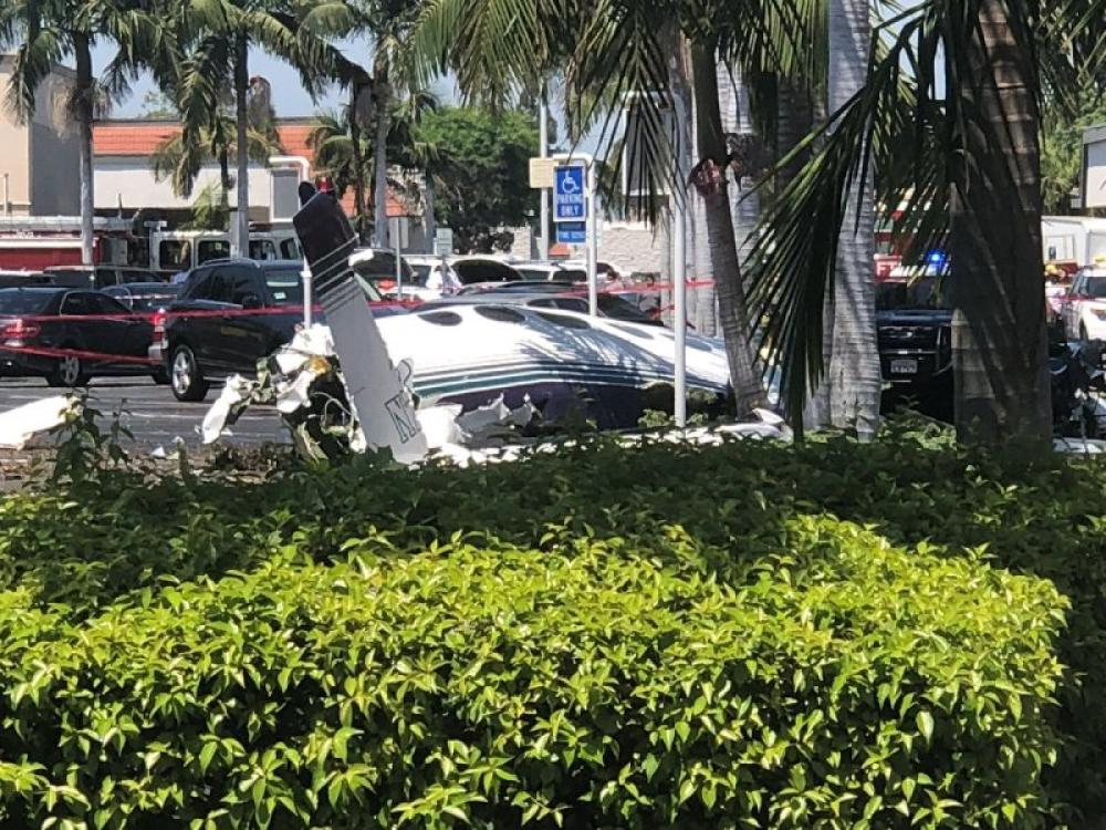 Small plane crashes in California parking lot, five killed