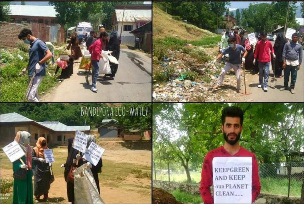 Senior citizens of Bandipora village in Kashmir participate in day-long cleanliness