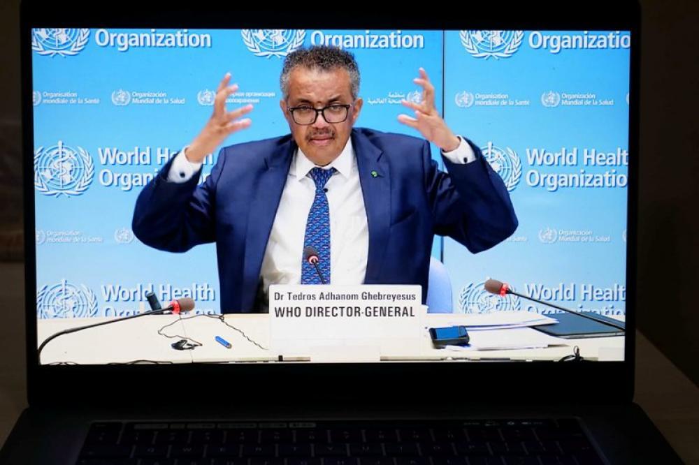 WHO director-general Tedros Adhanom Ghebreyesus addresses press conference