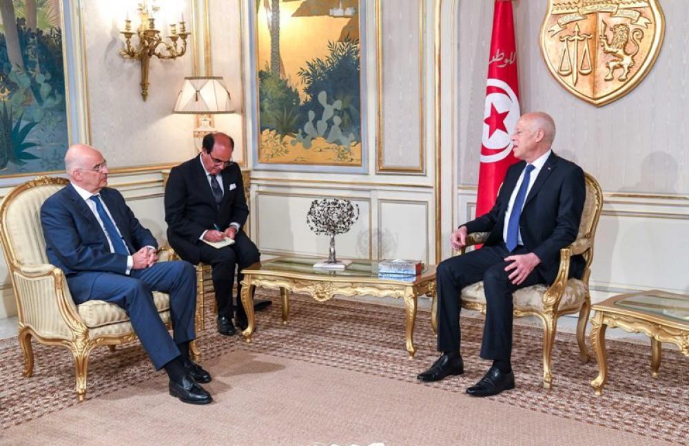 Tunisian President Kais Saied meets Greek foreign minister Nikos Dendias