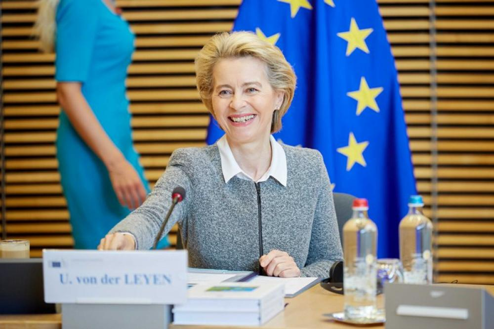 European Commission Prez Ursula von der Leyen chairs seminar of College of Commissioners at EU headquarters in Brussels