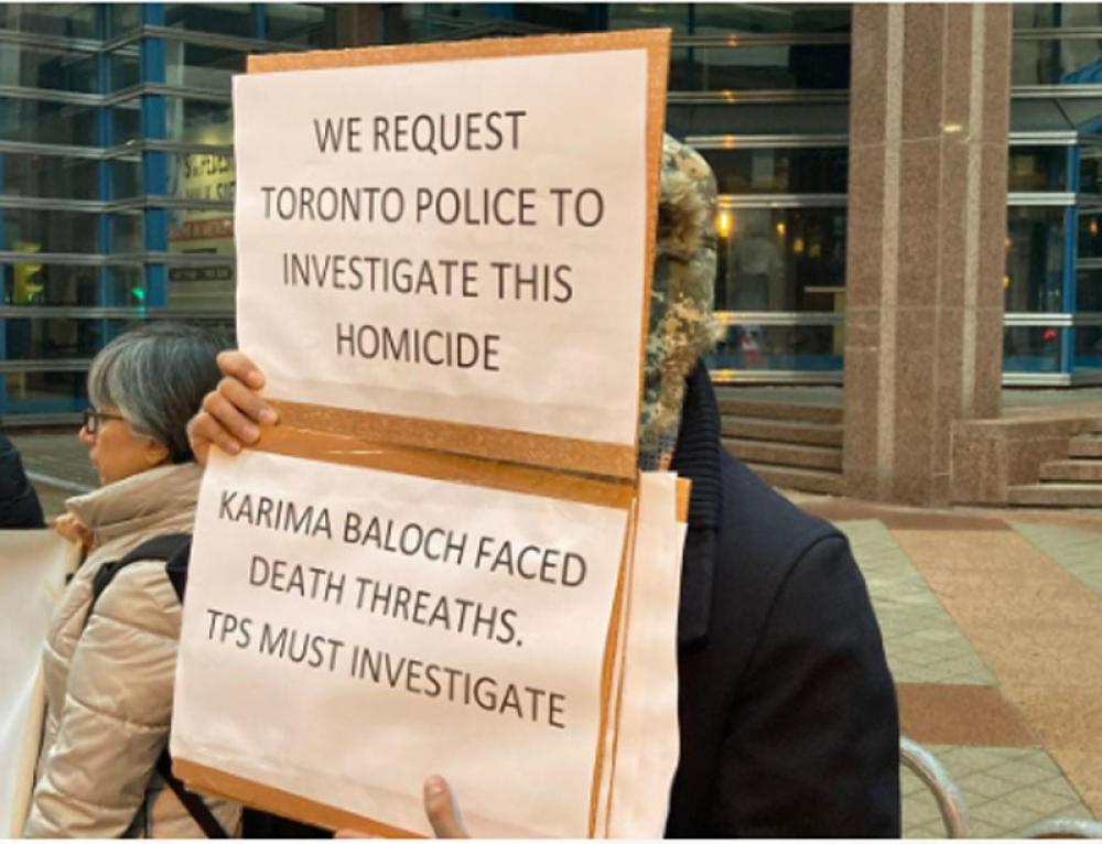 Protesters demand fair probe into Karima Baloch's death in Toronto