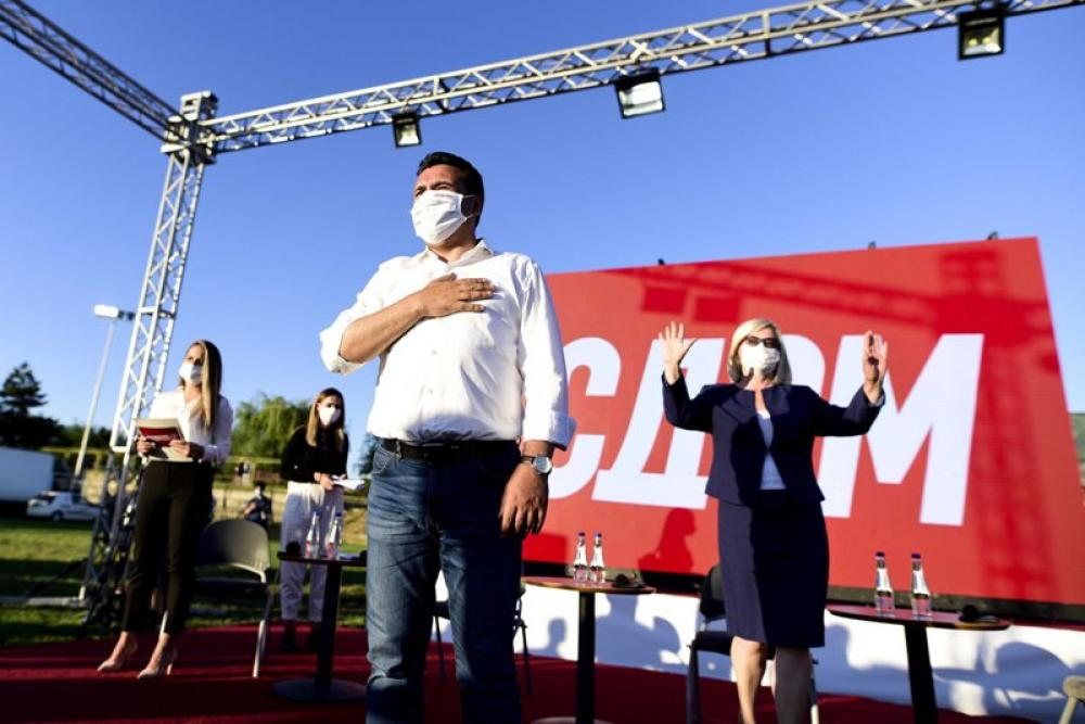 Former Macedonia PM Zoran Zaev participates in election rally