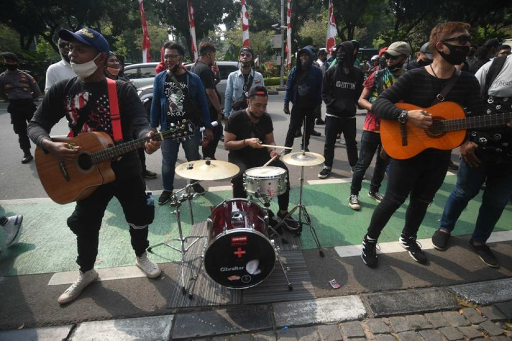 Protest demanding live music in Jakarta
