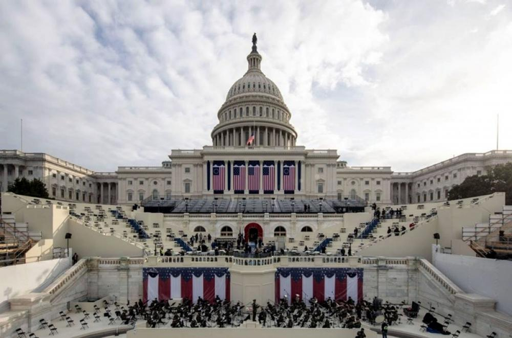View of West Front of the US Capitol where new US President Biden will take oath