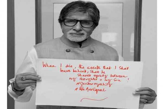 Megastar Amitabh Bachchan's unique message in support of gender equality campaign