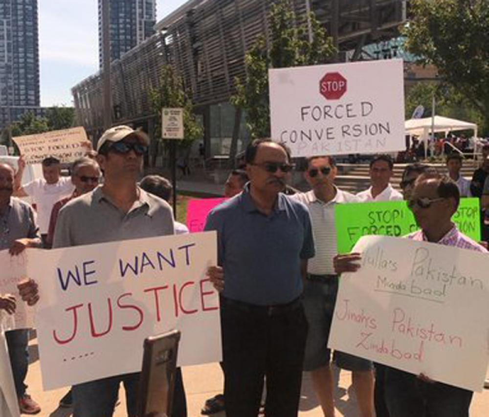 Sindhi community protests in Canada against forced conversion of minor Hindu girls in Pakistan