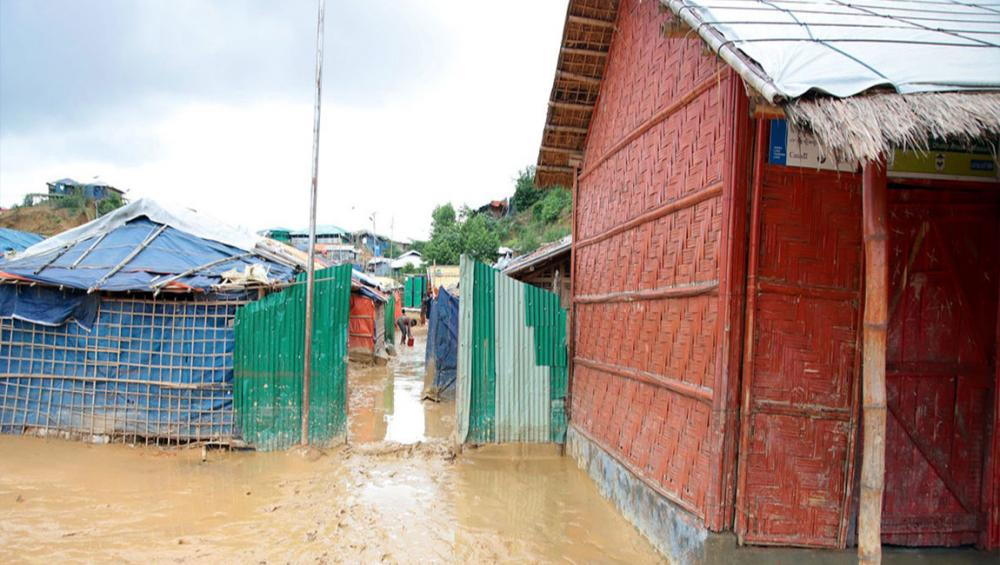 Scores of Rohingya refugee shelters in Bangladesh destroyed by flooding
